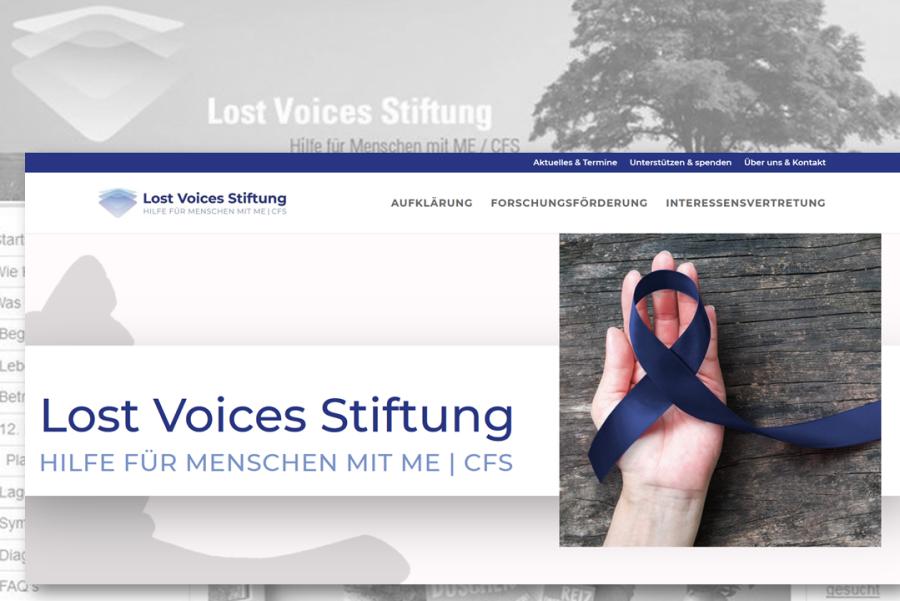 Screenshot der alten und neuen Homepage der Lost Voices Stiftung